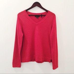 Tommy Bahama Red V-Neck Fine Merino Wool Sweater